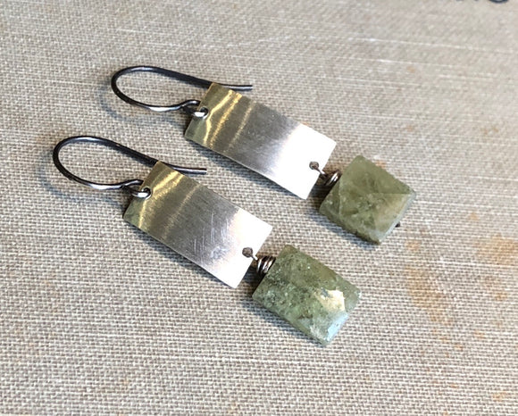 Green Garnet Modern Rectangle Earrings