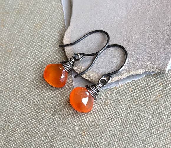 Bright Orange Carnelian Briolette Earrings