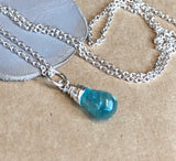 Aqua Apatite Teardrop Pendant Necklace