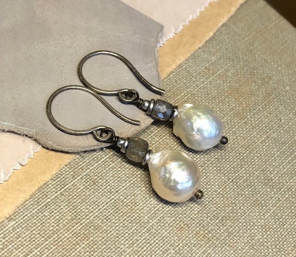 Baroque Pearl and Labradorite Earrings
