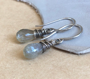 Cloud Gray Labradorite Earrings