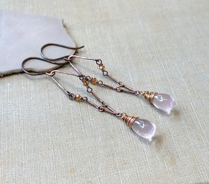 Long Rose Quartz and Copper Earrings