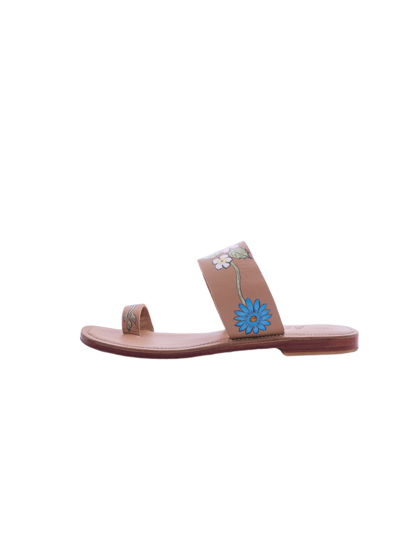 Sweet Pea - Hand Painted Sandals - Light Tan