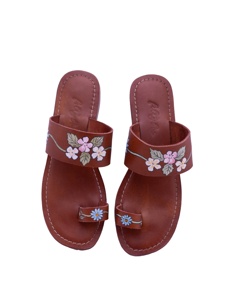 Sweet Pea - Hand Painted Sandals - Dark Tan