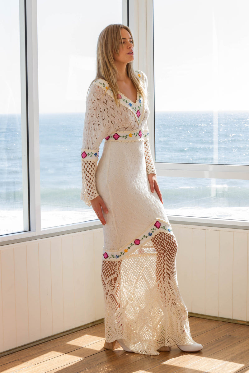 All Together Now - Hand crocheted & embroidered gown