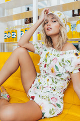 FILLYBOO - 'BABYLON'S GARDEN PLAYSUIT' - PRINTED PLAYSUIT IN LINEN
