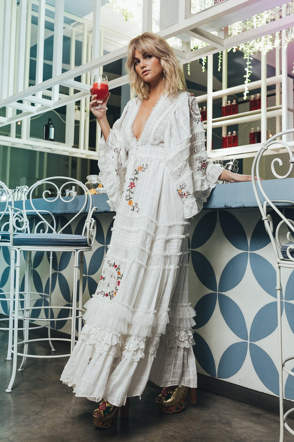 Charm Your Way - Embroidered maxi dress/duster