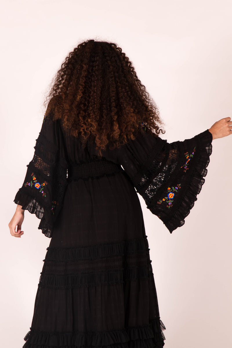 Charm Your Way - Embroidered maxi dress/duster - Black