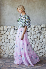 FILLYBOO - 'DAISY ISLAND' - BATIK & EMBROIDERED MAXI SKIRT