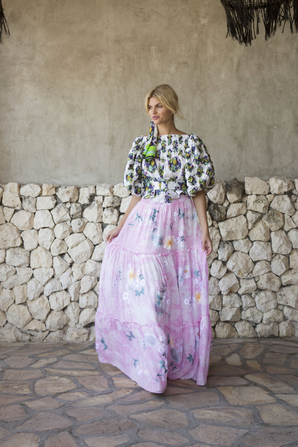 Fillyboo - Daisy Island - Batik & embroidered maxi skirt