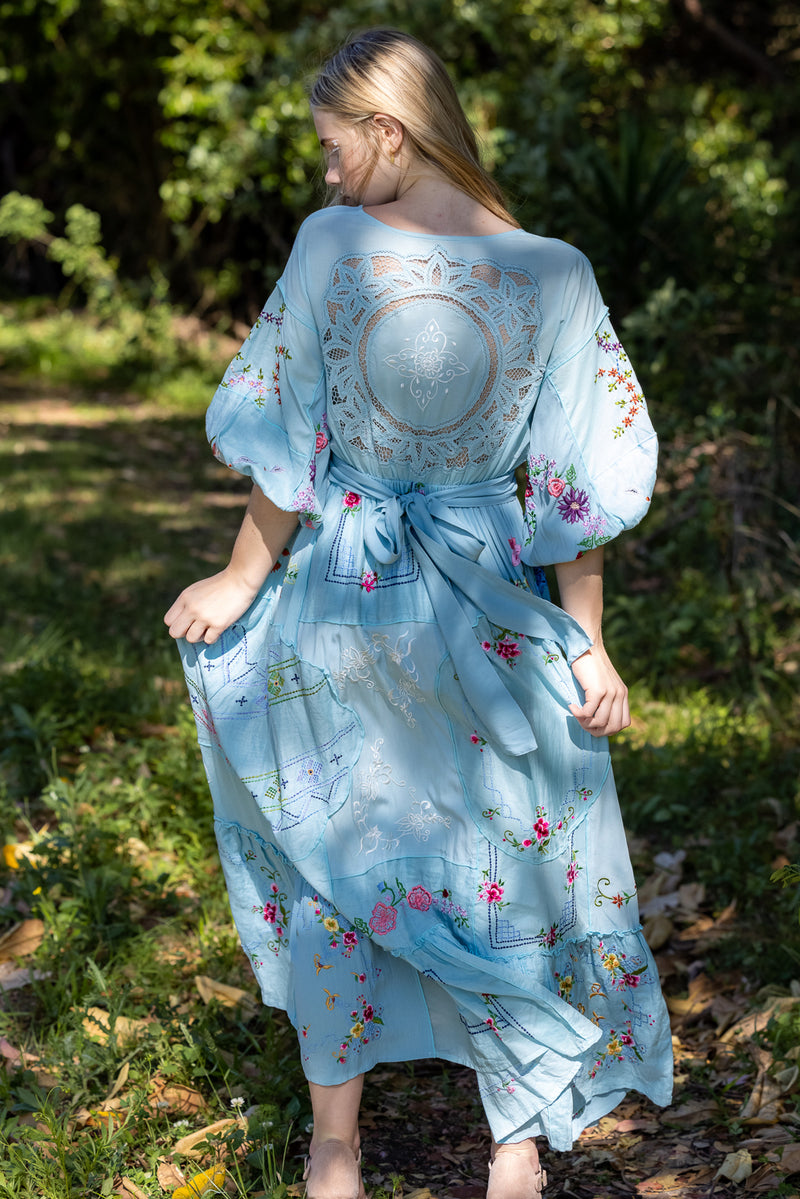 Dream In Colour - Embroidered Maxi Dress in Aquatic