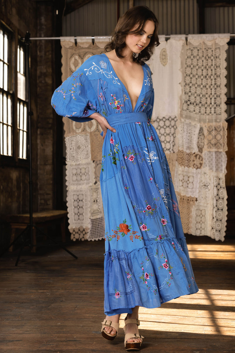 Dream In Colour - Embroidered Maxi Dress in Vista Blue