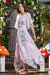 Enchanted - Batwing embroidered maxi dress in Orchid Ice
