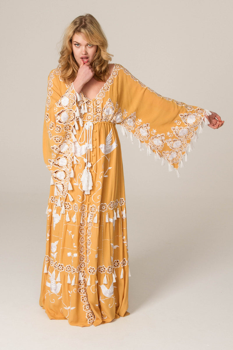'HEART ON THE FLOOR' - HAND EMBROIDERED DUSTER - GOLD WITH IVORY