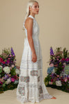 Halcyon Patchwork Halter Maxi Dress - Ivory