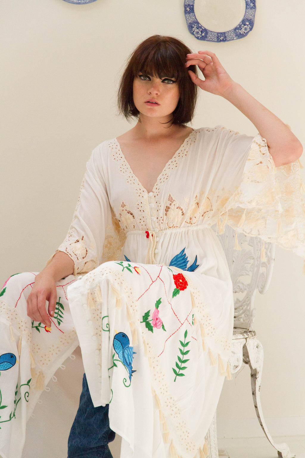 'HEART ON THE FLOOR' - HAND EMBROIDERED DUSTER & MAXI DRESS - IVORY