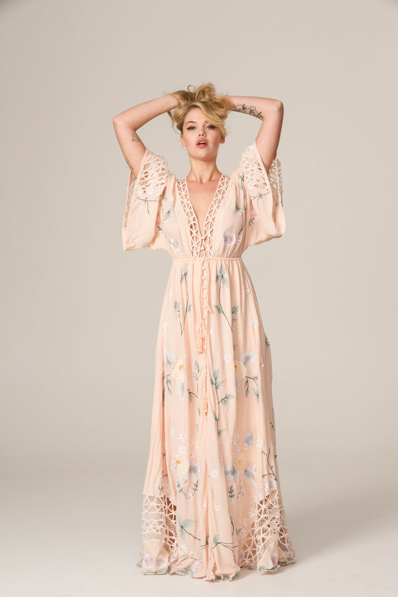 'I AM LOLA' - HAND EMBROIDERED DUSTER & MAXI DRESS - BLUSH