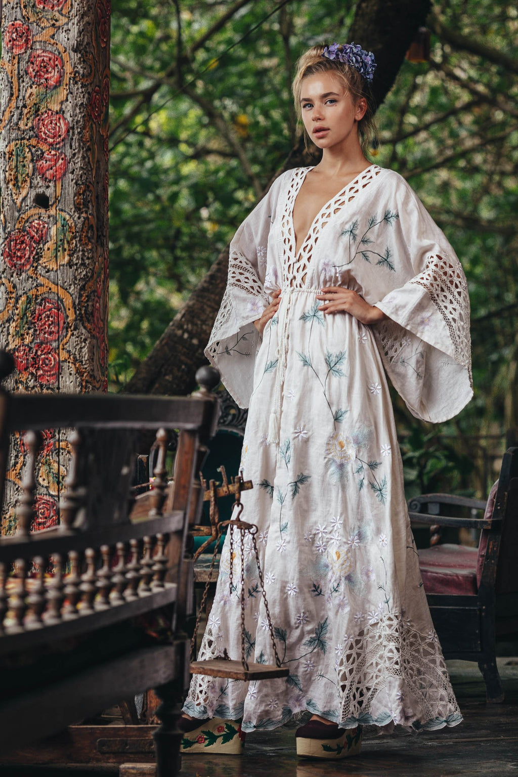 Fillyboo - I AM LOLA - Embroidered duster & maxi dress - Beige