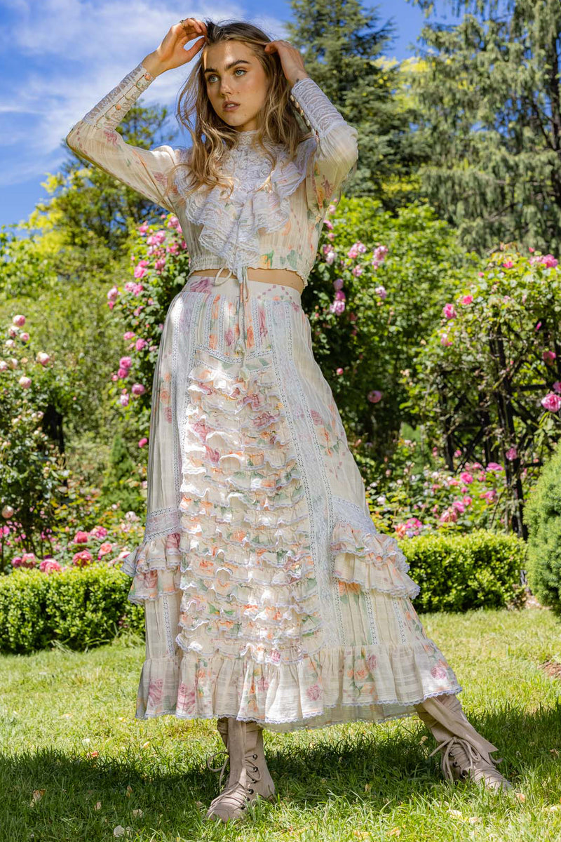 Neverland - Embroidered Maxi Skirt in Clemence