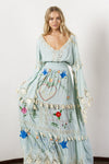 'LITTLE BEAR' - HAND EMBROIDERED MAXI DRESS - PASTEL JADE