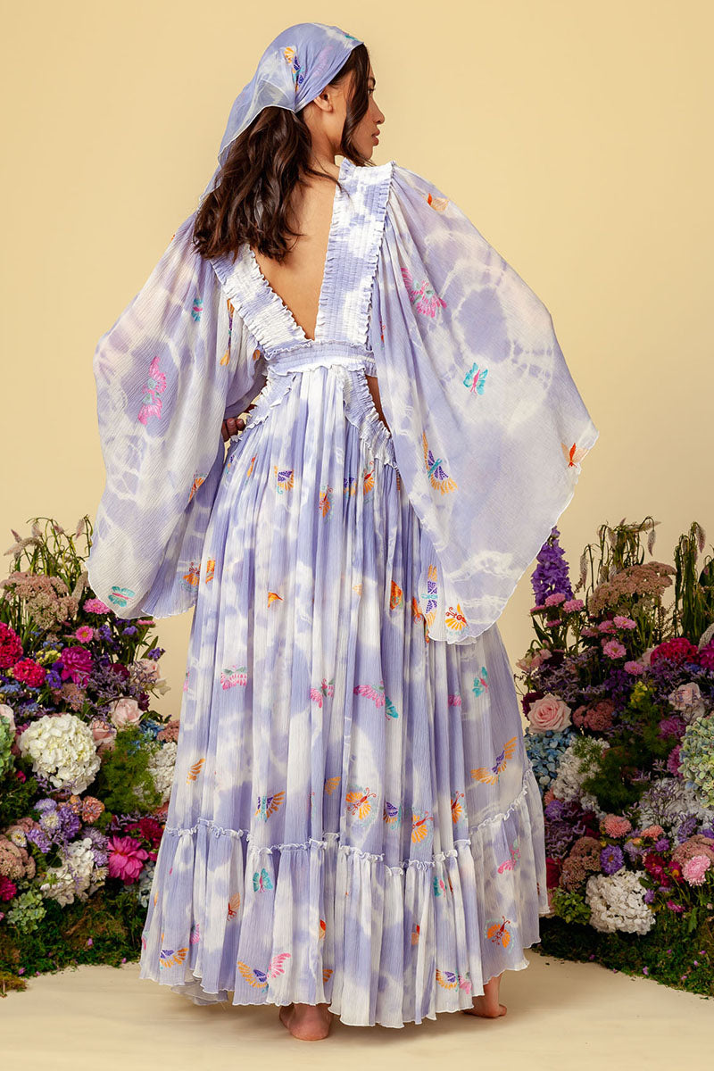 Madam Butterfly - Cut Out Dress in Periwinkle