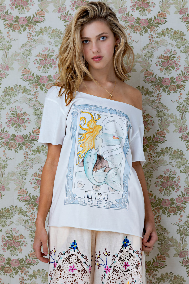 Mermaid - T-shirt with raw edge