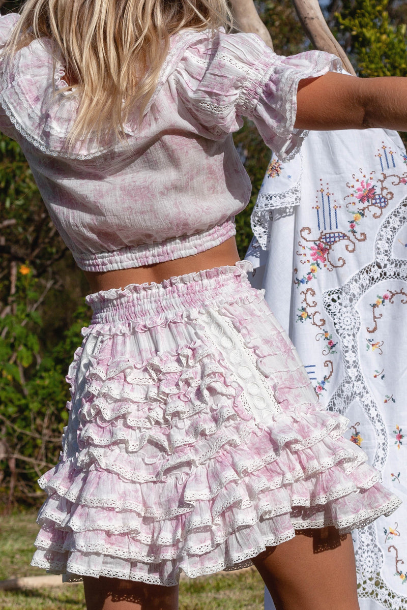 Midsummer - Handmade embroidered top & skirt set in Sunday Pink