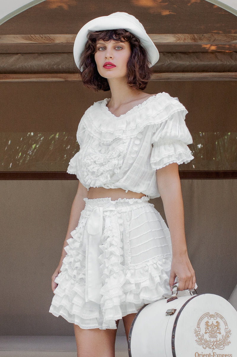 Midsummer - Handmade embroidered top & skirt set