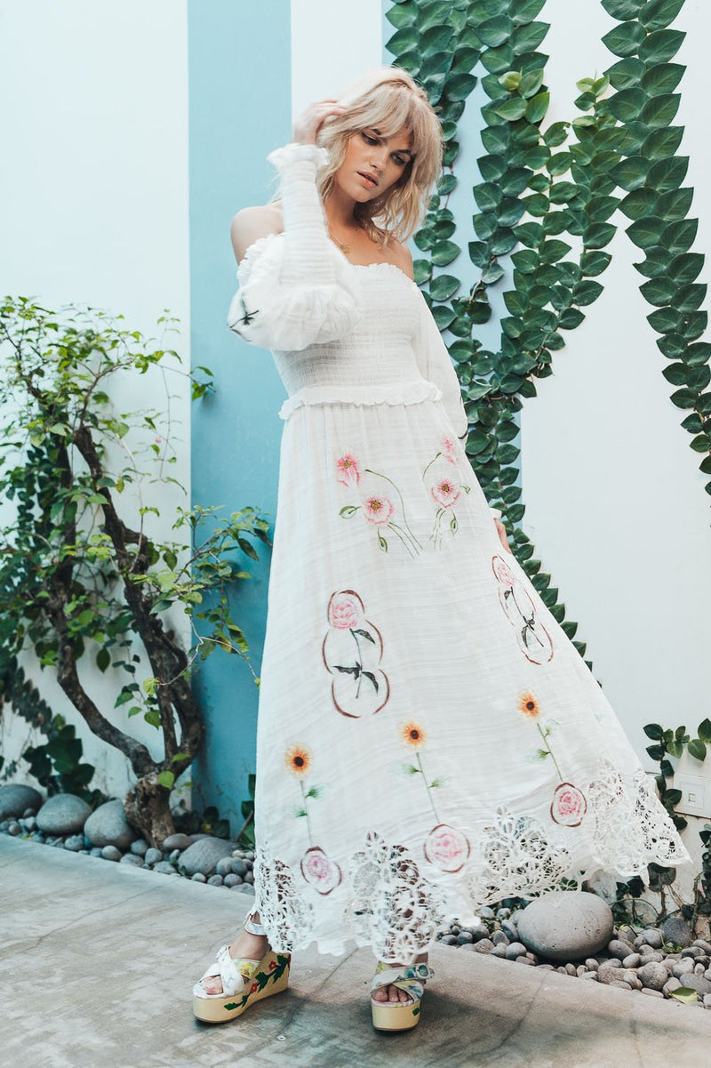 Norwegian Wood - Embroidered Maxi Dress