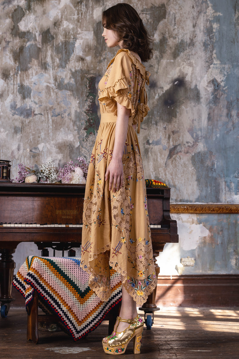 Once Upon A Song - Batwing embroidered maxi dress in Sand