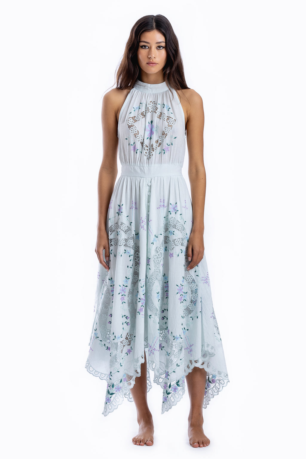 Once Upon A Song - Halter embroidered maxi dress