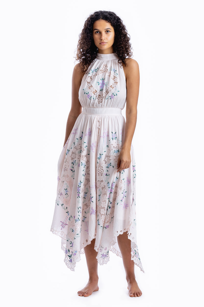 Once Upon A Song - Halter embroidered maxi dress in Pink Marshmallow