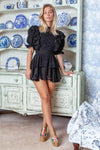 Penzance - Embroidered mini dress - Black