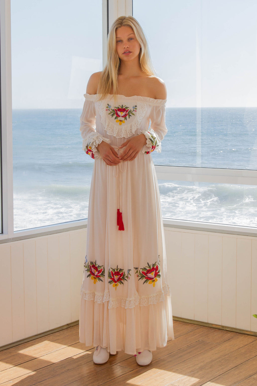 'POPPY APPLE' - OFF SHOULDER EMBROIDERED MAXI DRESS