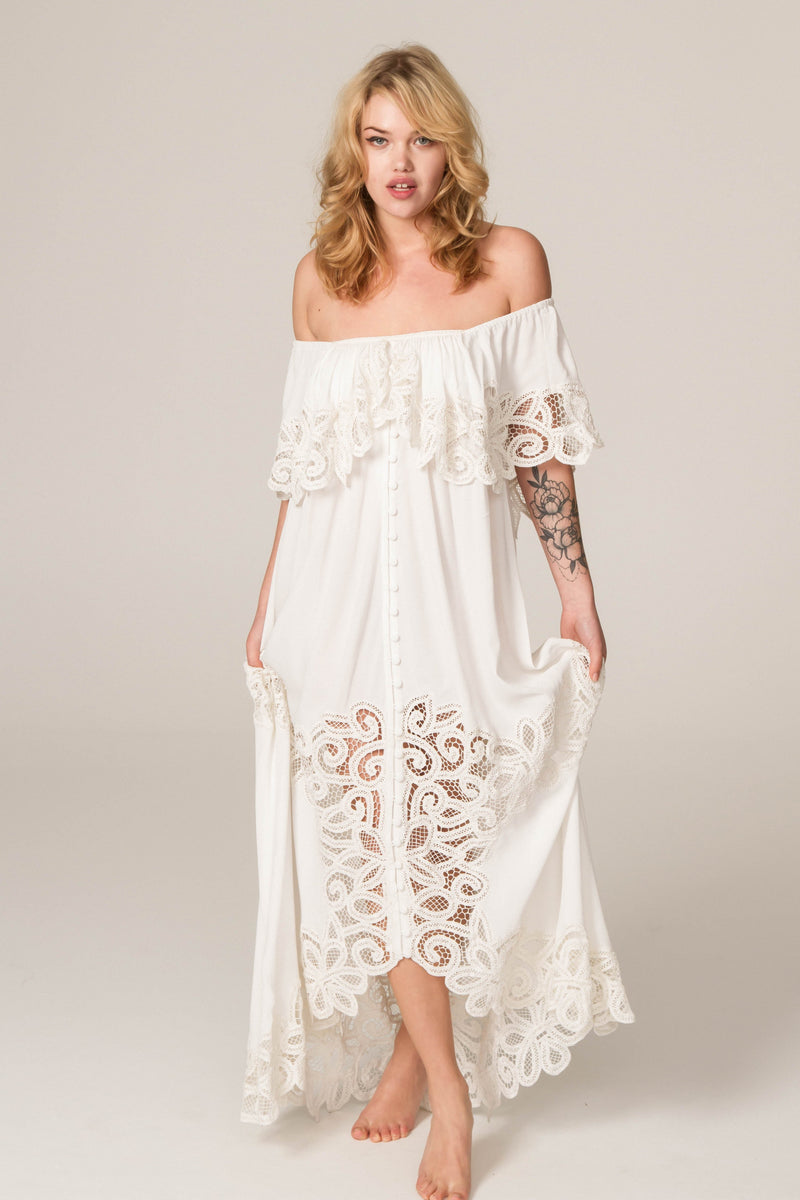 Pretty Tuesday - Hand embroidered off-the-shoulder maxi dress