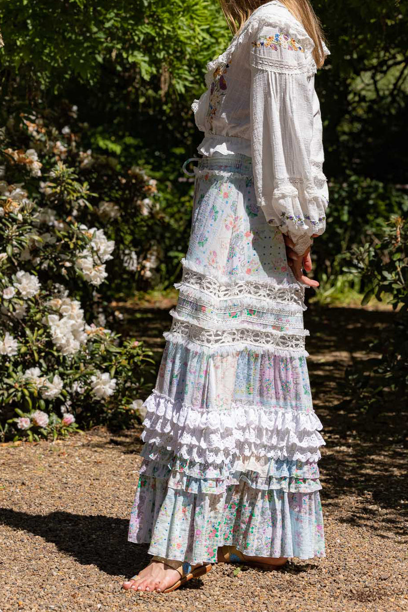Scarf Rhapsody - Embroidered Maxi Skirt