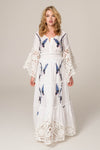 Skies Are Blue - Hand Embroidered Dress