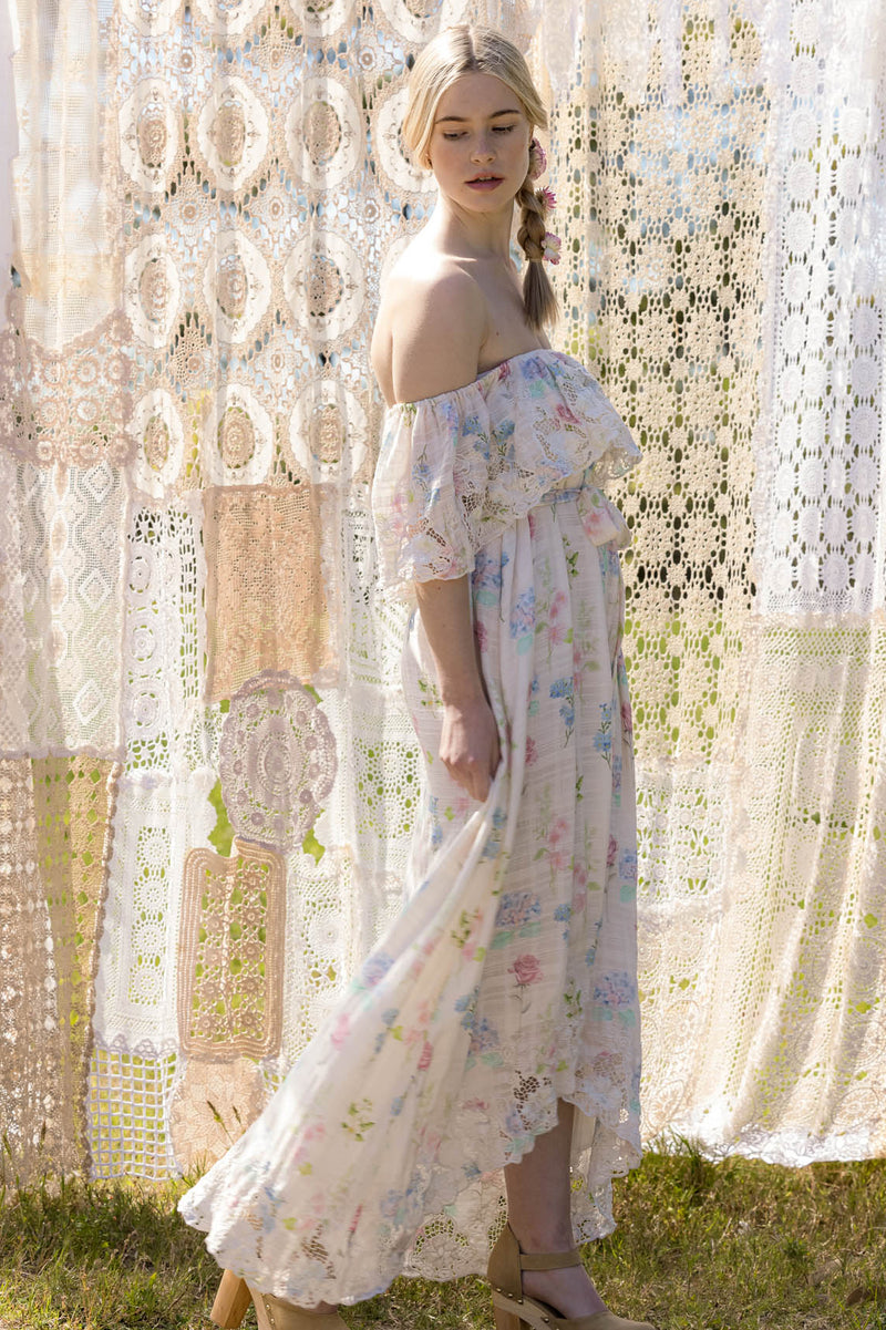 Wonder Years - Embroidered Gown in Wall Flower