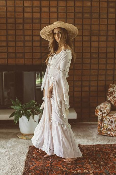 'LITTLE BEAR' - HAND EMBROIDERED MAXI DRESS - LIGHT BLUSH WITH IVORY EMBROIDERY