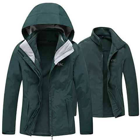 Diamond Candy Womens Winter Ski Jacket, 3-in-1 Warm Waterproof Coat with Windproof Fleece Liner Green