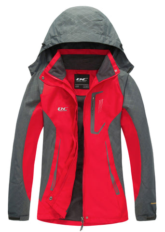 Diamond Candy Womens Rain Jacket Waterproof with Hood Lightweight Hiking Jacket Red