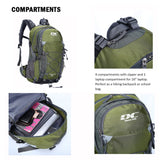 Diamond Candy Waterproof Hiking Backpack 40L with Rain Cover for Outdoor Army Green