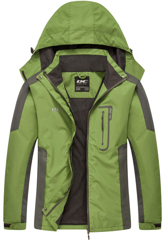 Diamond Candy Waterproof Rain Jacket Women Lightweight Outdoor Raincoat Hooded for Hiking Green