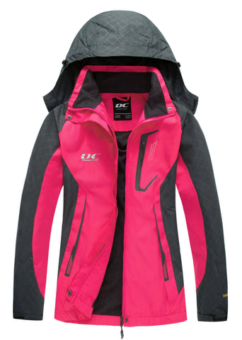 Diamond Candy Womens Rain Jacket Waterproof with Hood Lightweight Hiking Jacket Hot Pink
