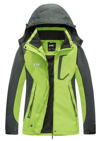 Diamond Candy Womens Rain Jacket Waterproof with Hood Lightweight Hiking Jacket Green