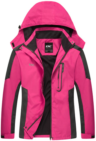 Diamond Candy Waterproof Rain Jacket Women Lightweight Outdoor Raincoat Hooded for Hiking Hot Pink