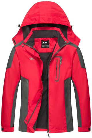 Diamond Candy Waterproof Rain Jacket Women Lightweight Outdoor Raincoat Hooded for Hiking Red