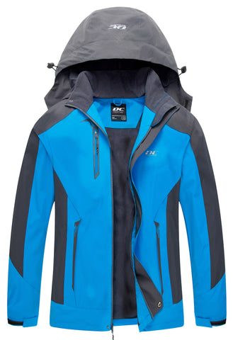 Diamond Candy Men Hooded Waterproof Jacket Lightweight Rain Jacket Outdoor Casual Sportswear Blue