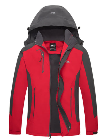 Diamond Candy Men Hooded Waterproof Jacket Lightweight Rain Jacket Outdoor Casual Sportswear Red