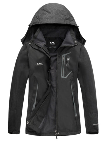 Diamond Candy Womens Rain Jacket Waterproof with Hood Lightweight Hiking Jacket Black